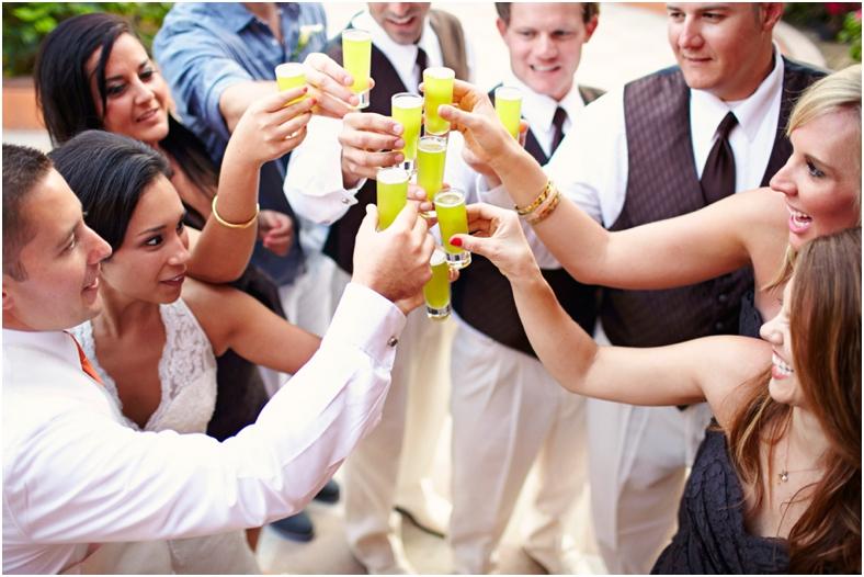 Mexico wedding bridal party cheers