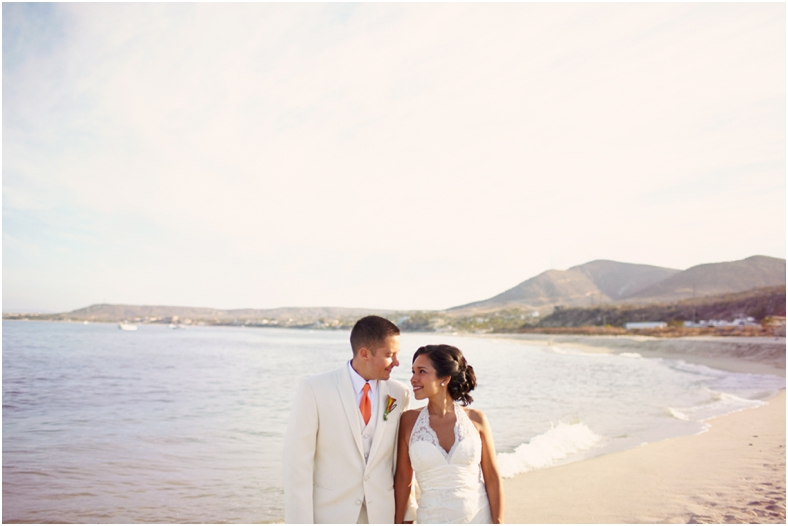 Mexico wedding, bride and groom on beach