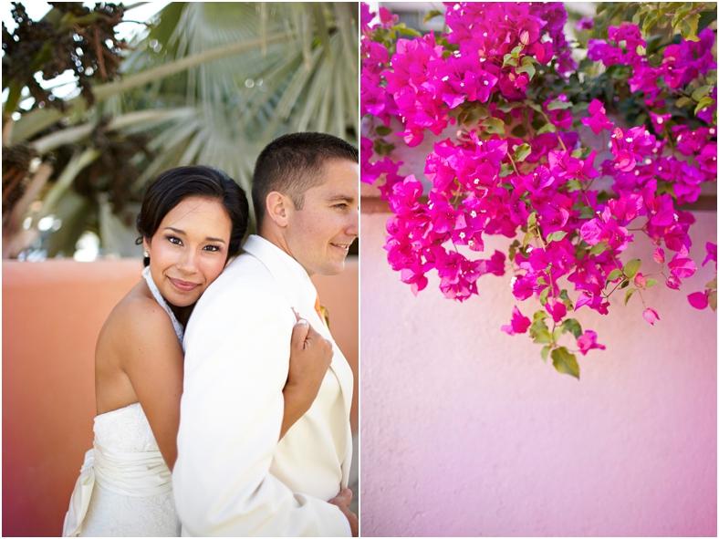 Mexico wedding, bride and groom and bouganvilla