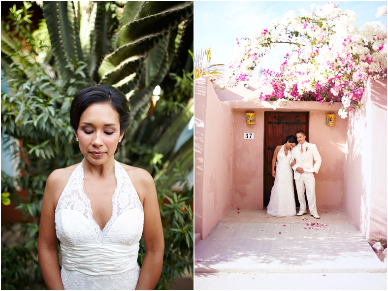 Mexico wedding, bride in front of cacti, couple in front of pink wall