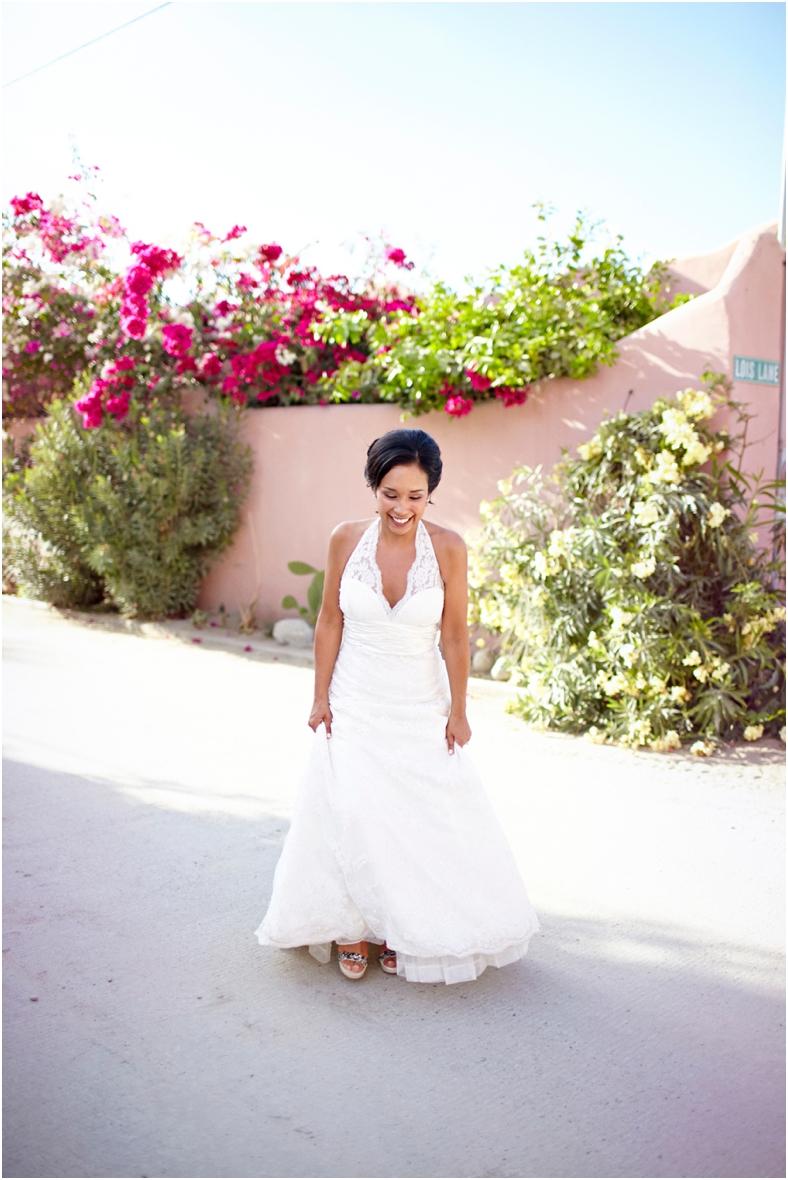 Mexico wedding bride walking through street