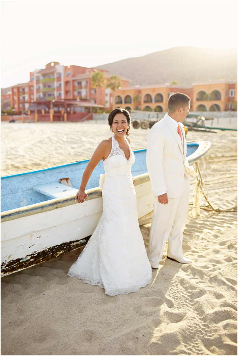 Mexico wedding bride and groom and boat on beach