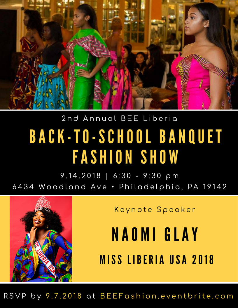 Please join us for BEE Liberia's Second Annual Back-to-School Banquet Fashion Show, featuring keynote speaker Miss Liberia USA, Naomi Glay! @naominucia @missliberiauspageant ✏📚🐝 This year's event will be at @fogsco.thrift (6434 Woodland Avenue) on 9/14 from 6:30 - 9 PM. 🔸Get your tickets TODAY at  BEEFashion.eventbrite.com 🔸  The Second Annual Back to School Banquet & Fashion Show will introduce the BEE Liberia model to supporters who believe that children in Liberia are in need of quality affordable education. In addition, BEE Liberia will collect school supplies and monetary funds to ship supplies to the impoverished Liberian schools we support. We will also highlight fashion designers and artists with culturally competent prints and designs. The event will not only raise awareness of the need and lack of quality and affordable education in Liberia, but will also engage BEE Liberia's network through Liberian culture, music, food, and fashion. Reserve your spot now by clicking the link below!