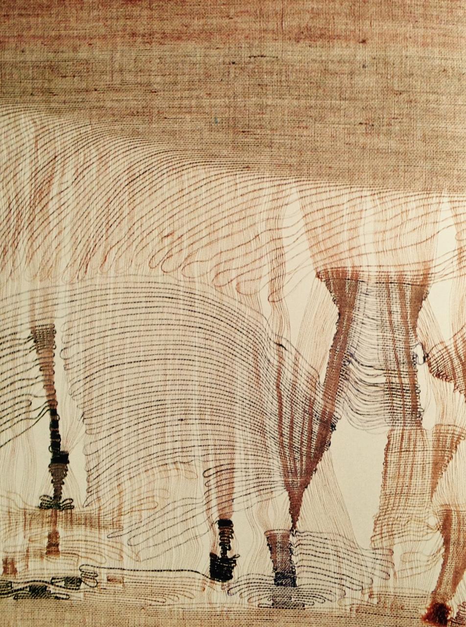 """Marisa Bronzini, """"Le fiamme (Les flammes)"""", 1948. Soie. (Catalogue """" Filo 1996"""")"""