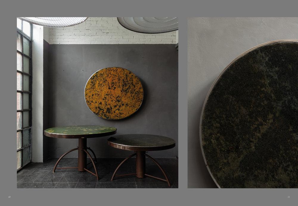 Carlo Trucchi, tables  Yellow  /  Green Symbiosis, vue  dans son atelier en Italie, crédits photos by ITrucchi.