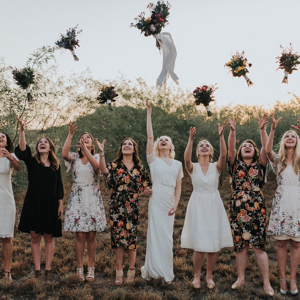 Bridesmaids Carrying Minimal Bouquets Image by Jonnie & Garrett