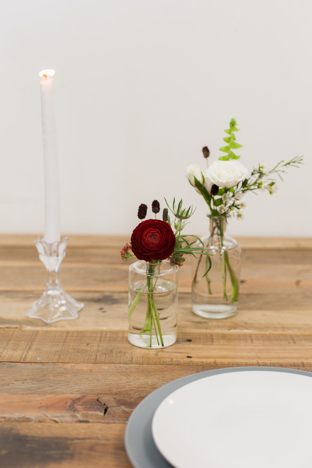 Bud Vase - $15 - We recommend bud vases for any extra spaces that need a touch of floral; think about your bar, card table, cake table, or guest book table. We also love a trio of bud vases as a simple, minimal centerpiece.