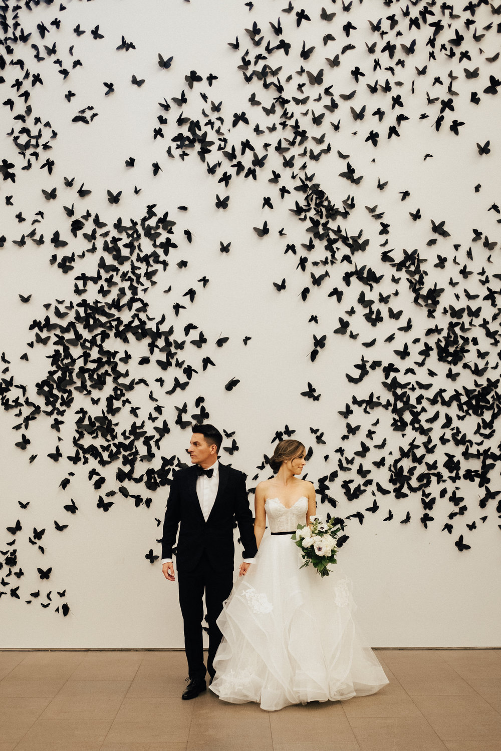 Black & White Art Museum Wedding