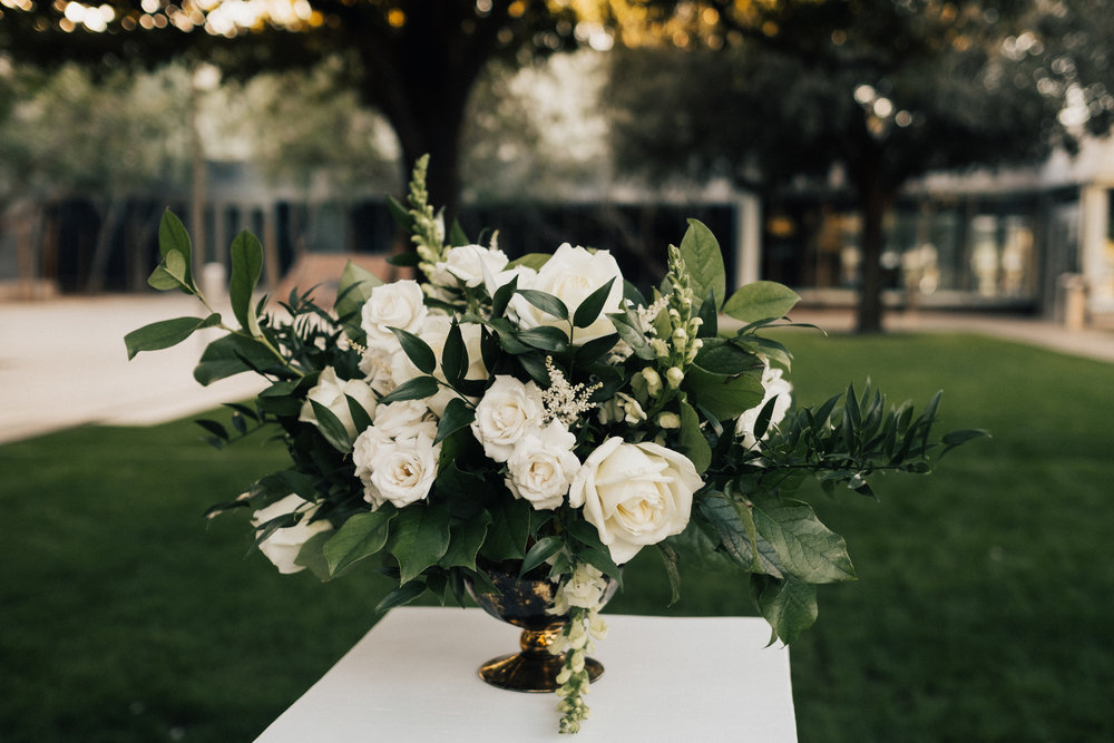 White garden style flower arrangement
