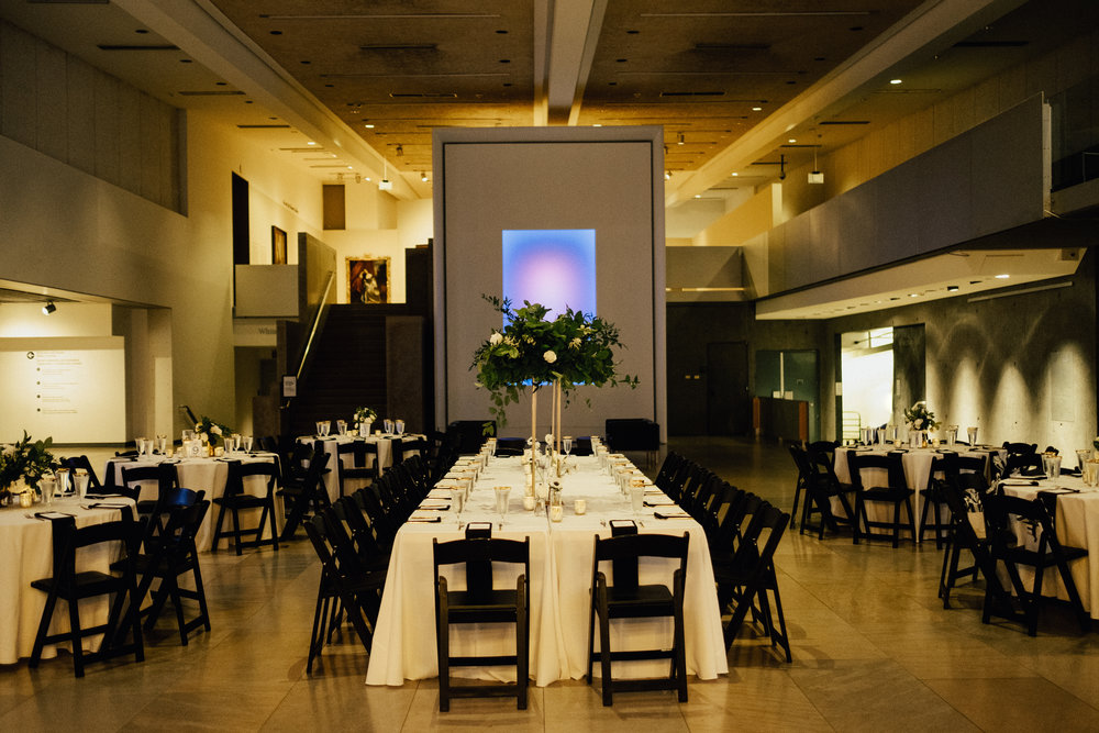 Black, White, and Gold Wedding Reception