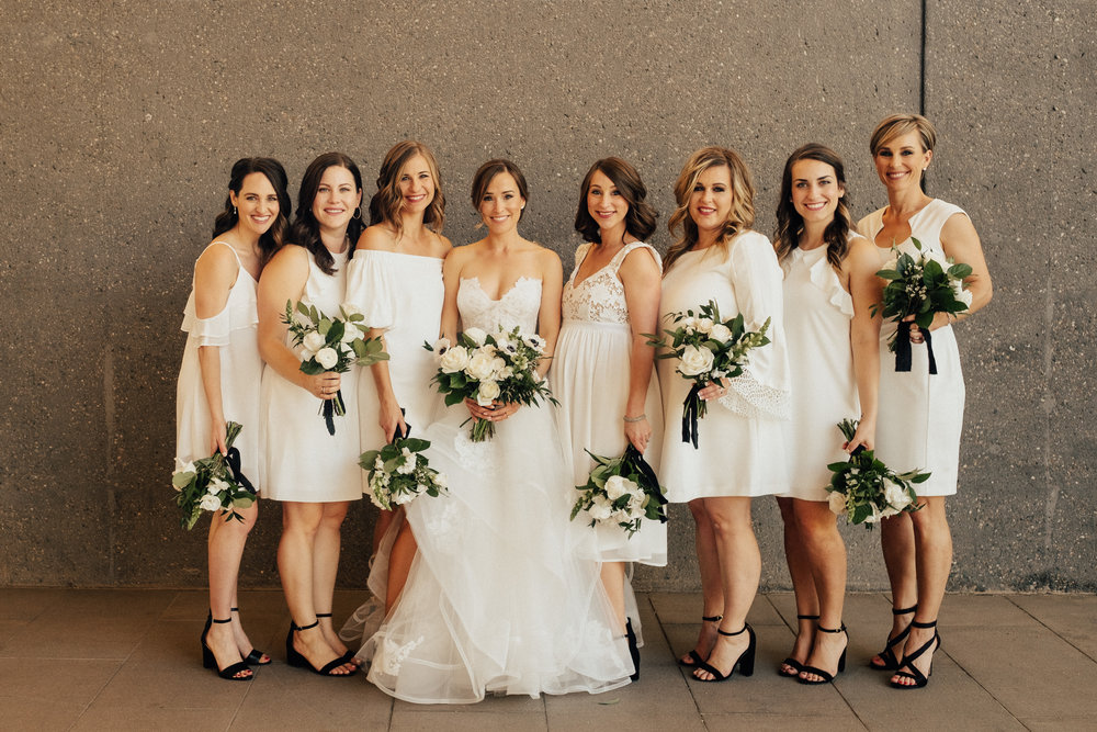 Bride and Bridesmaids in white with black accessories