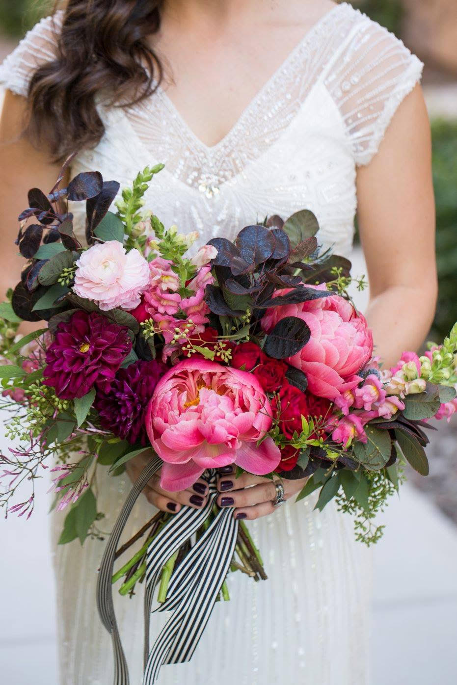Magenta and burgundy peony bouquet
