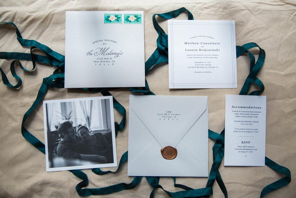 Modern Emerald and Brass Wedding Inviation Suite