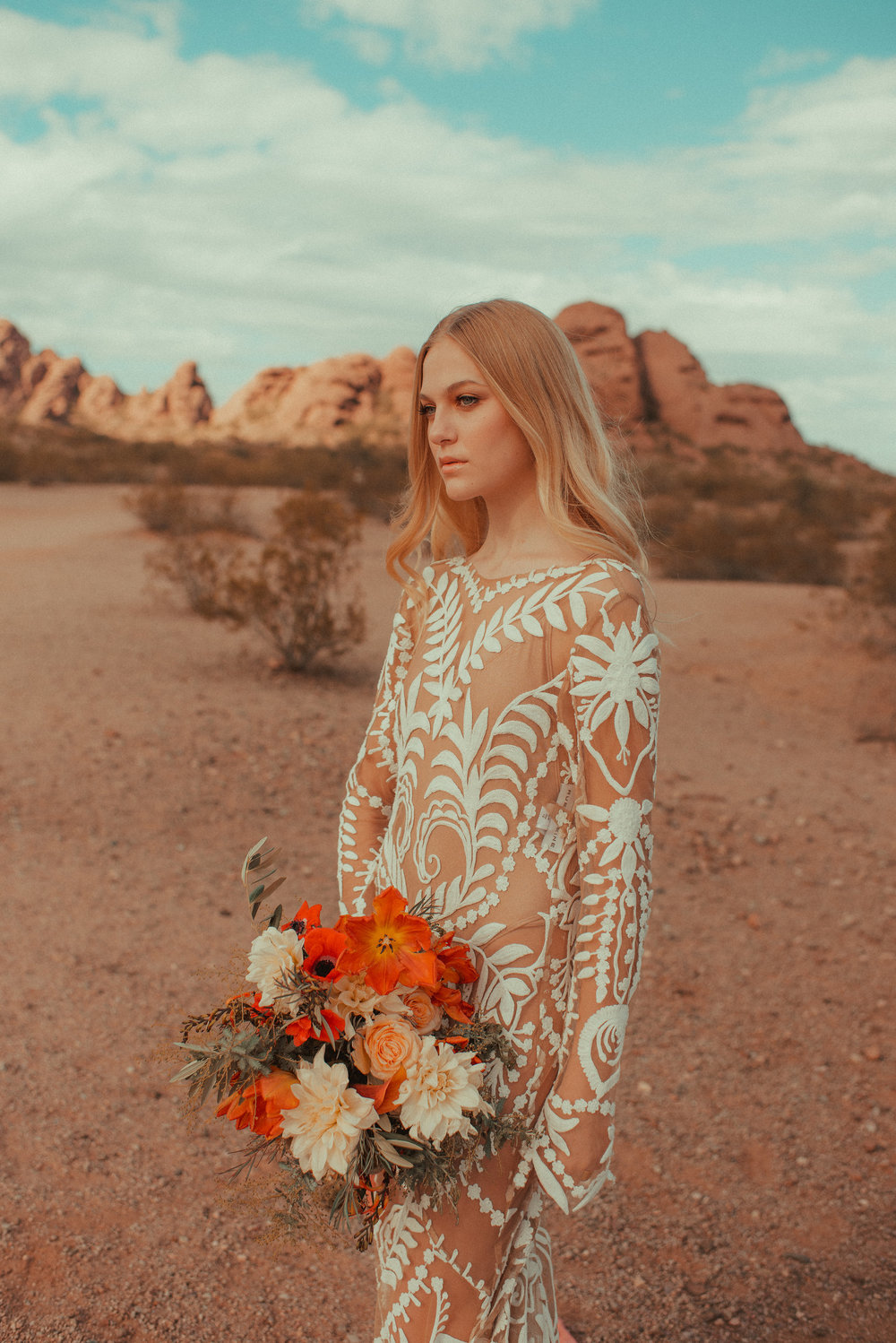 70's Inspired Bridal Shoot with Orange Bouquet