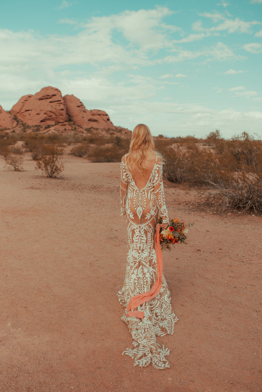 70's inspired boho desert bride