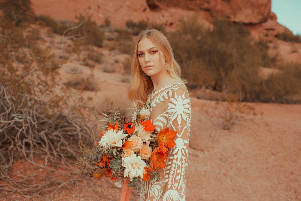 Boho bridal bouquet Desert Elopement Inspiration