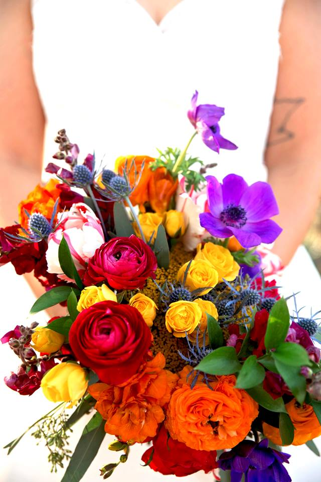 Brightly colored bridal bouquet - wedding flowers