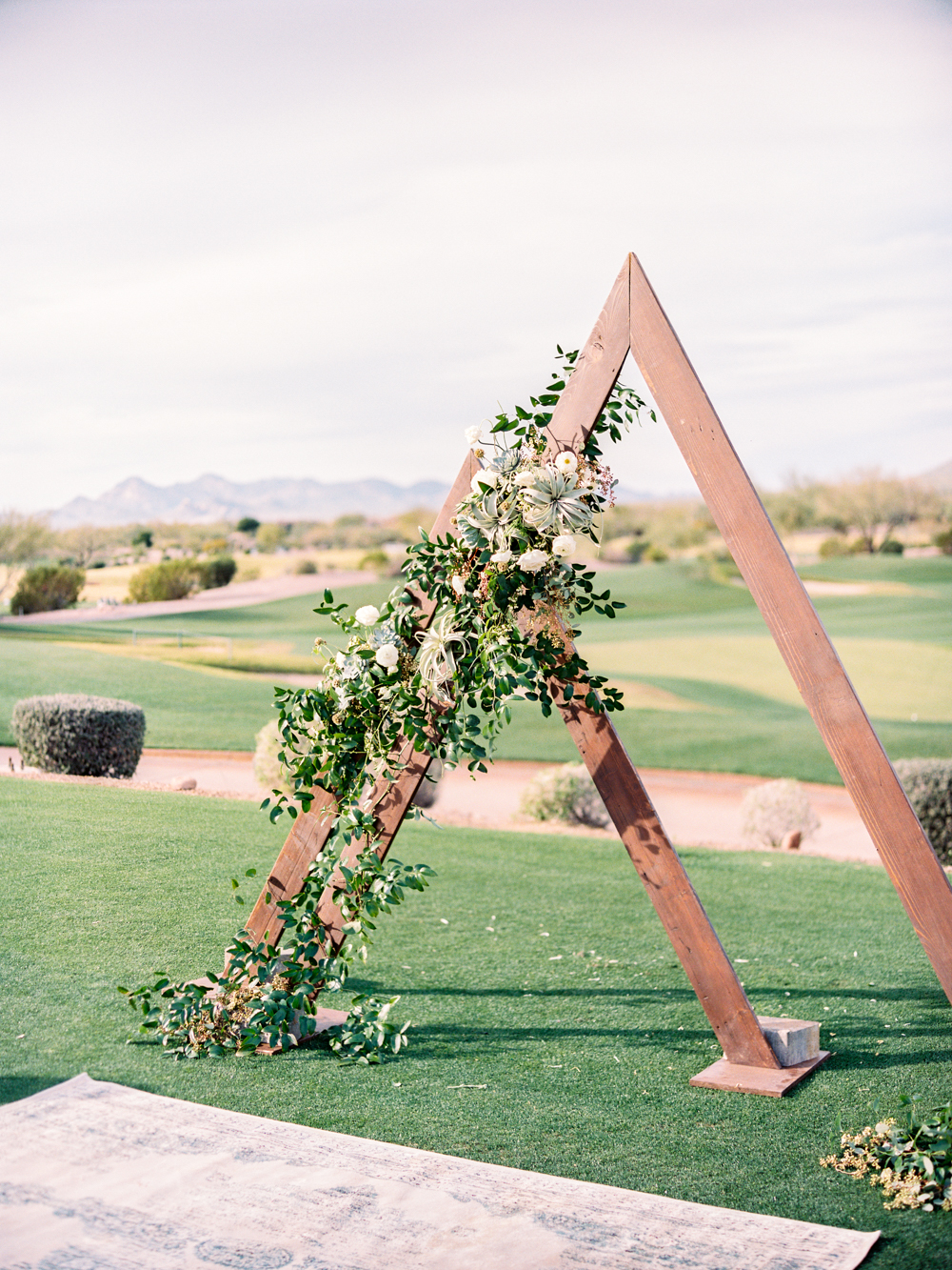 Triangle Wedding Backdrop with Air Plants and Succulents