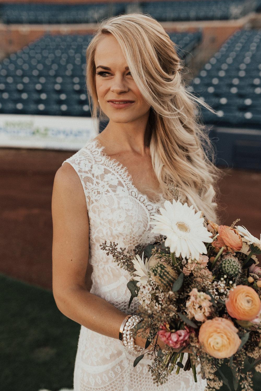 arizona baseball stadium wedding - desert inspired bouquet