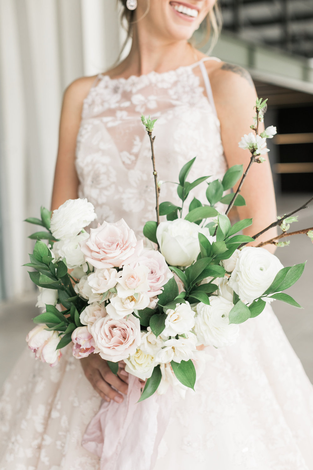 Cherry Blossom Inspired Wedding - Bridal Bouquet in Blush and White