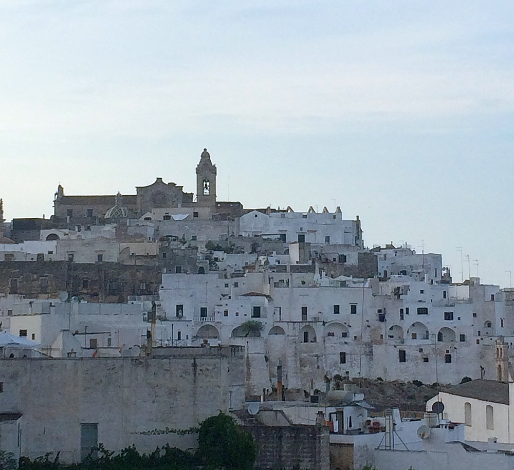 Ostuni. White houses are lined up on a hill top
