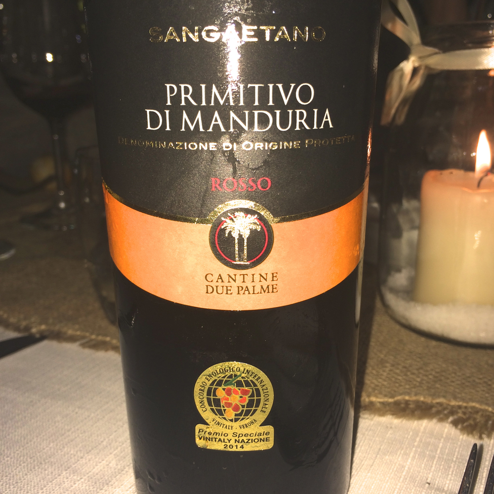 Excellent red wine from  Cantine Due Palme  : Primitivo