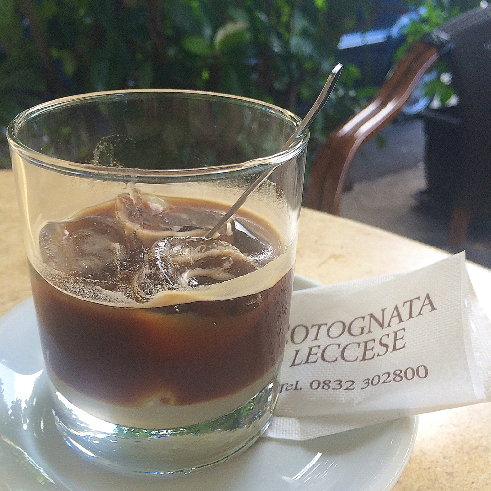 Institution :  Cotognata Leccese . A good old bar which serves the best caffe leccese (coffee with almond milk, and ice cubes)