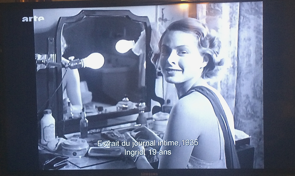 Ingrid Bergman left a series of diary and personal photographs. Capture from my TV screen showing  Je Suis Ingrid