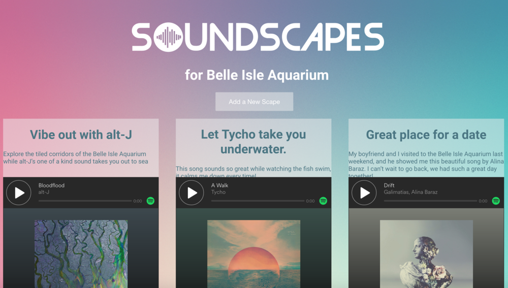 Page displaying soundscapes left at Belle Isle, Detroit