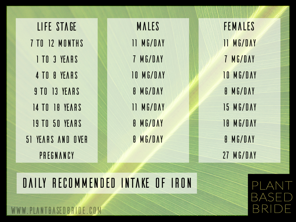 Daily Recommended Intake of Iron from PlantBasedBride.com!