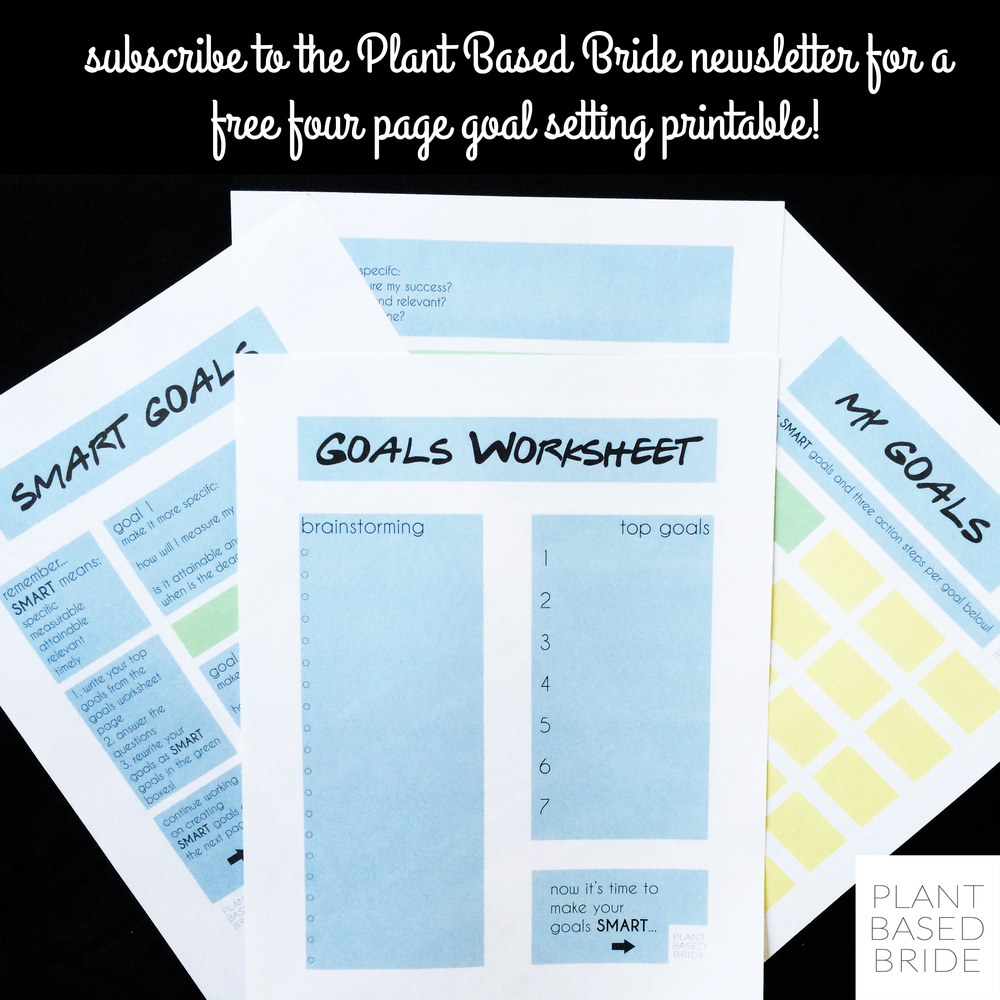 Get these awesome and FREE goal setting printable over at Plant Based Bride!