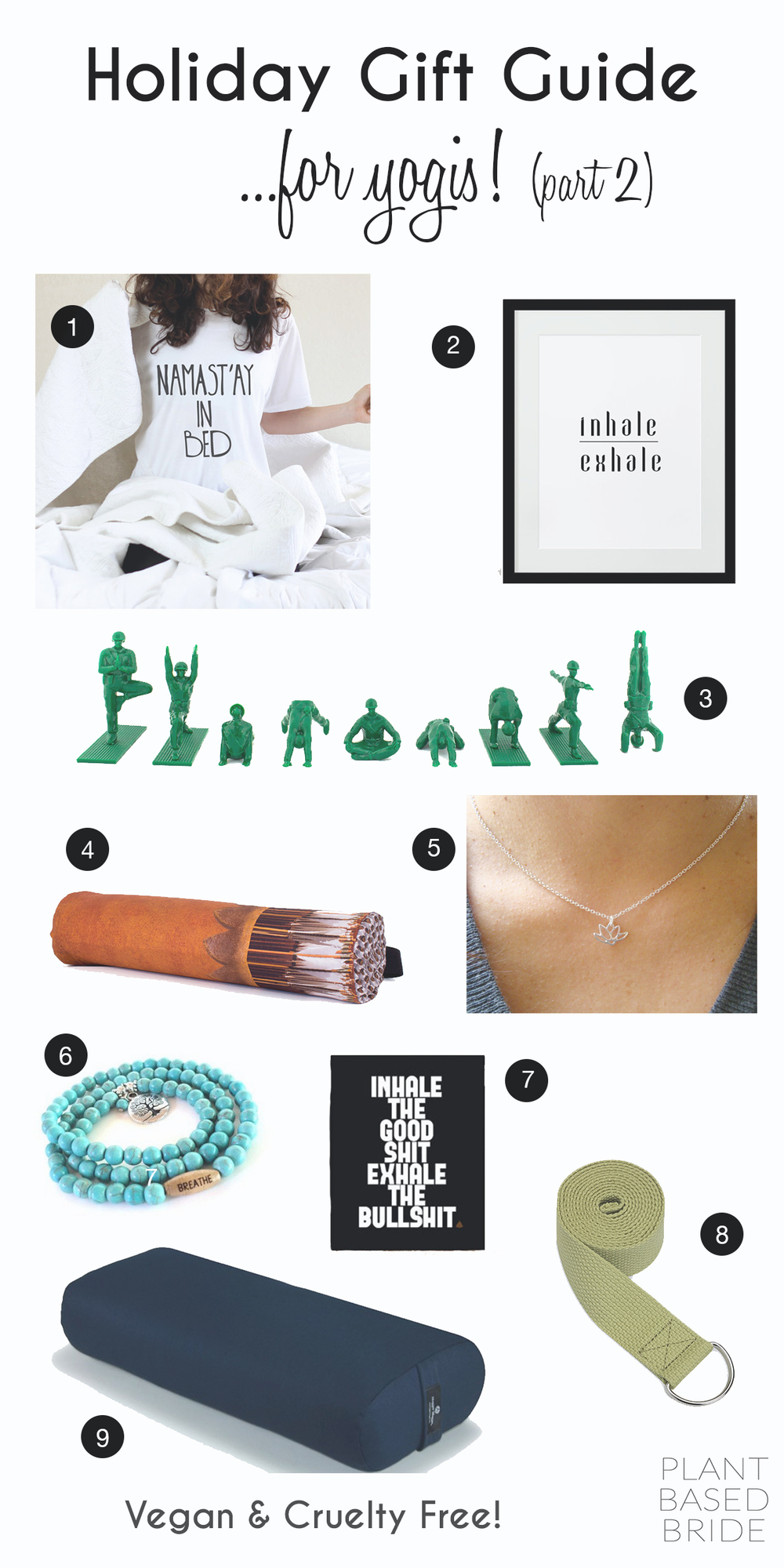 Quirky and fun gifts for the yogi in your life!  100% vegan and cruelty free from plant based bride