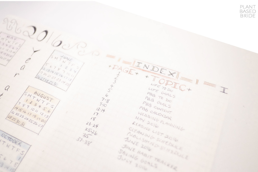 Bullet Journal Update + Tour! // Index // Plant Based Bride // Bujo