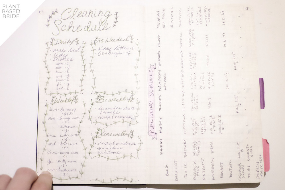Bullet Journal Update + Tour! // Cleaning Schedule + Blog Publishing Schedule // Plant Based Bride // Bujo