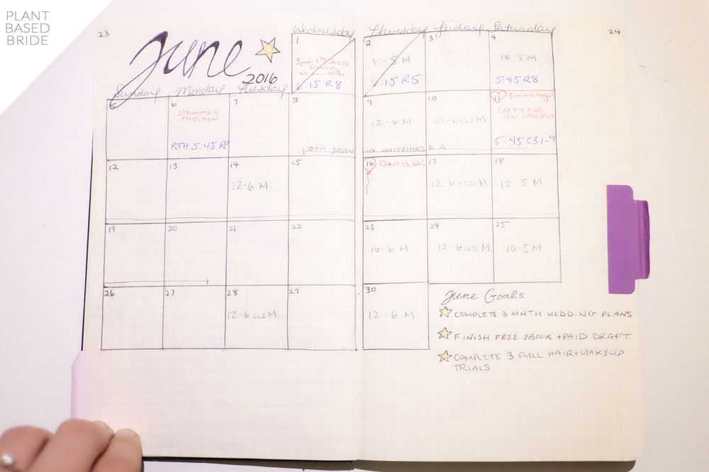 Bullet Journal Update + Tour! // Monthly Calendar Spread // Plant Based Bride // Bujo
