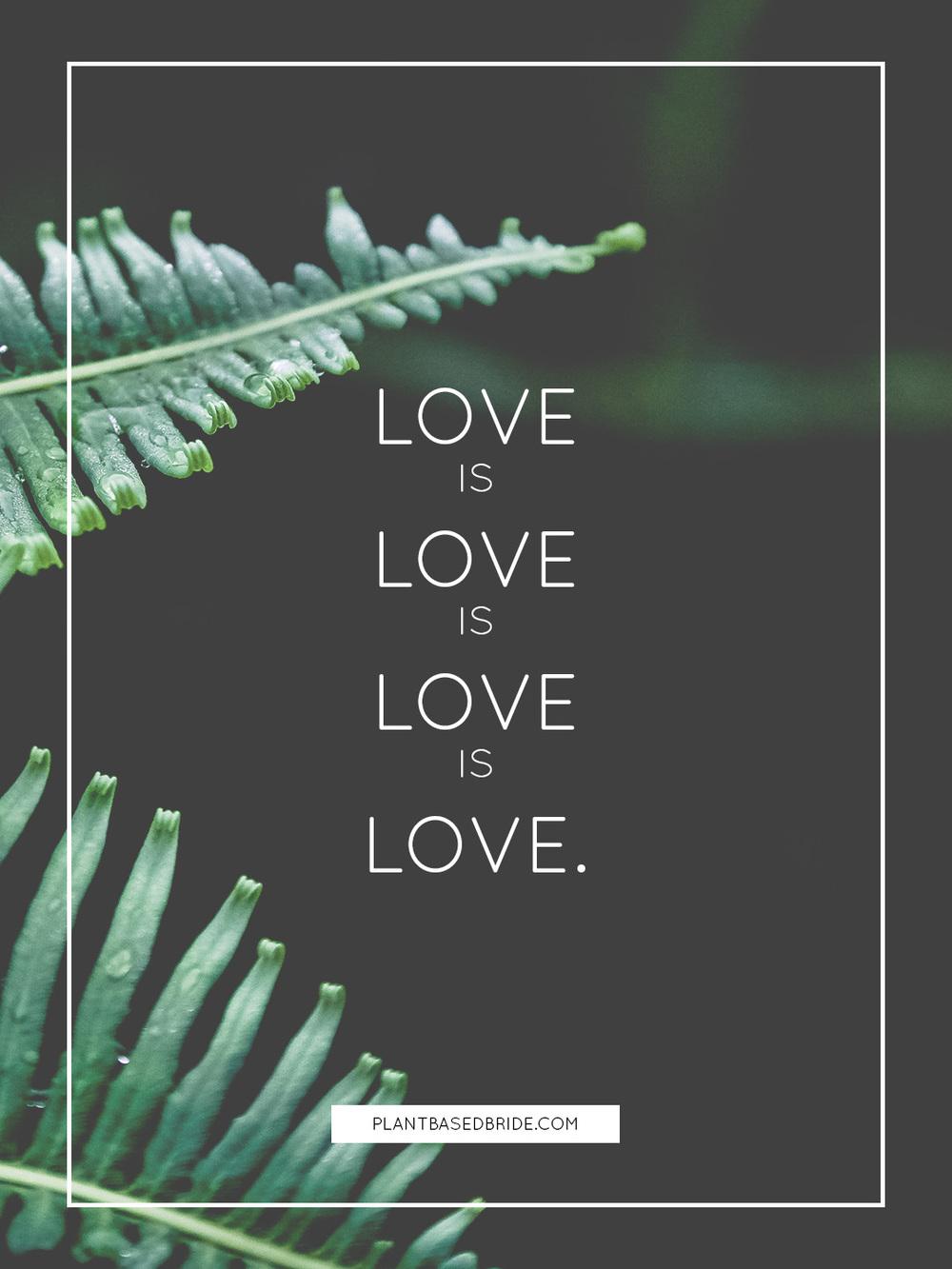 Love is love is love is love.  // Plant Based Bride
