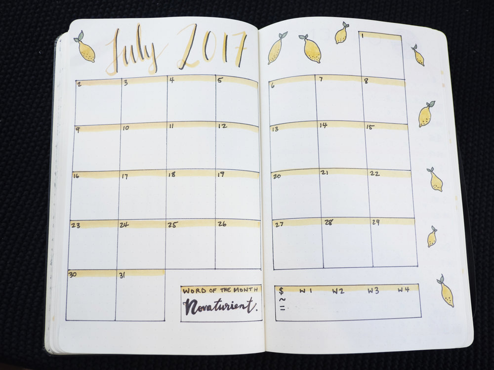 Bullet Journal July 2017 Monthly Spread // Plant Based Bride