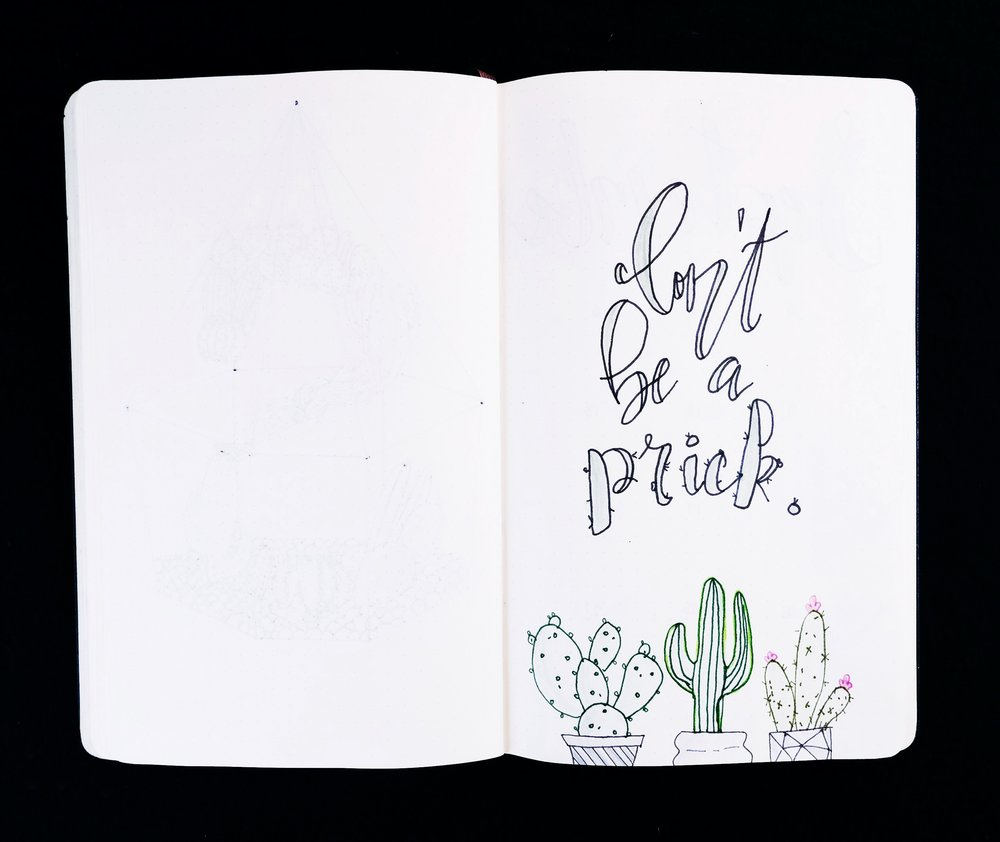 Don't be a prick cactus themed bullet journal // Plant Based Bride