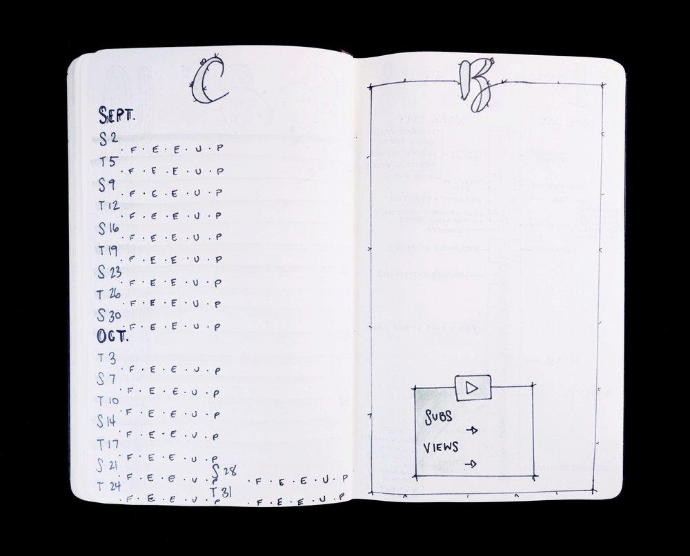 Content Calendar & Braindump Cactus Theme Bullet Journal // Plant Based Bride