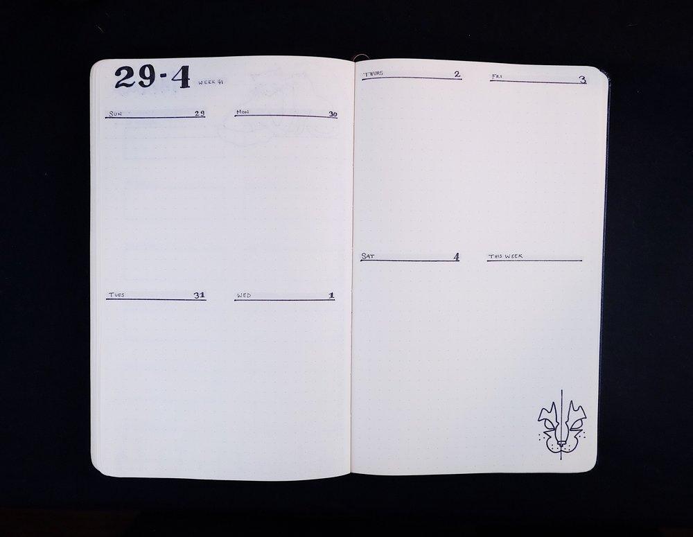 November Bullet Journal Weekly Spread Cat Theme // Plant Based Bride