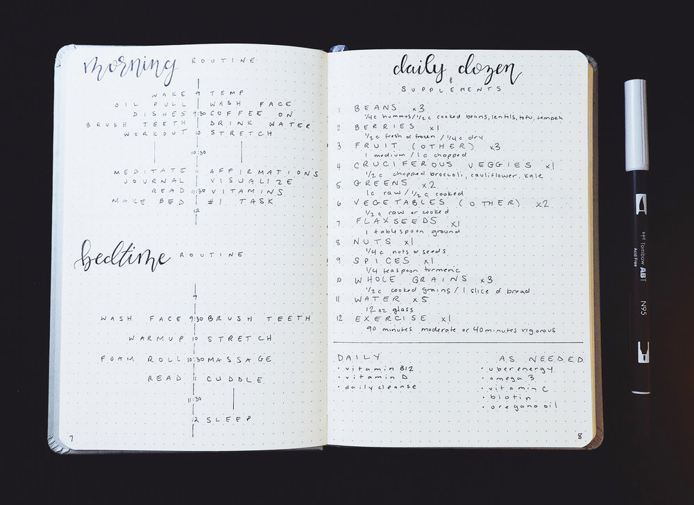Morning Routine and Bedtime Routine Spread and Daily Dozen and Supplements Spread New Bullet Journal Set Up 2018 // Plant Based Bride
