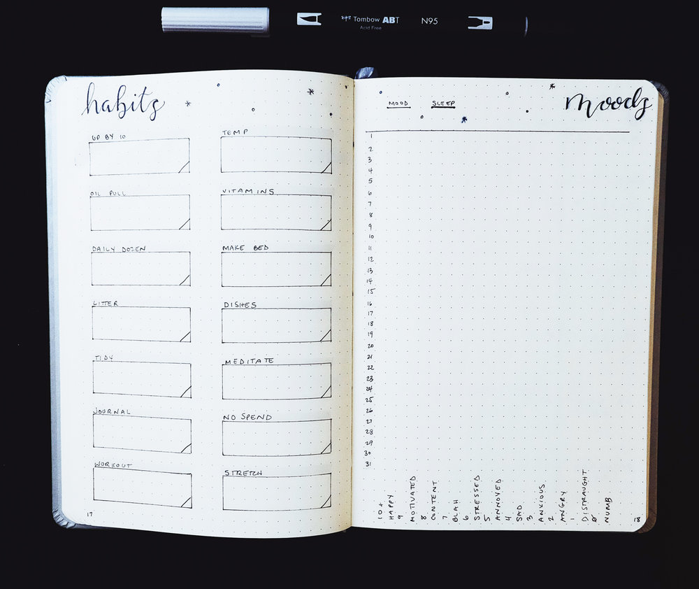 Habits and Moods January 2018 Bullet Journal // Plant Based Bride