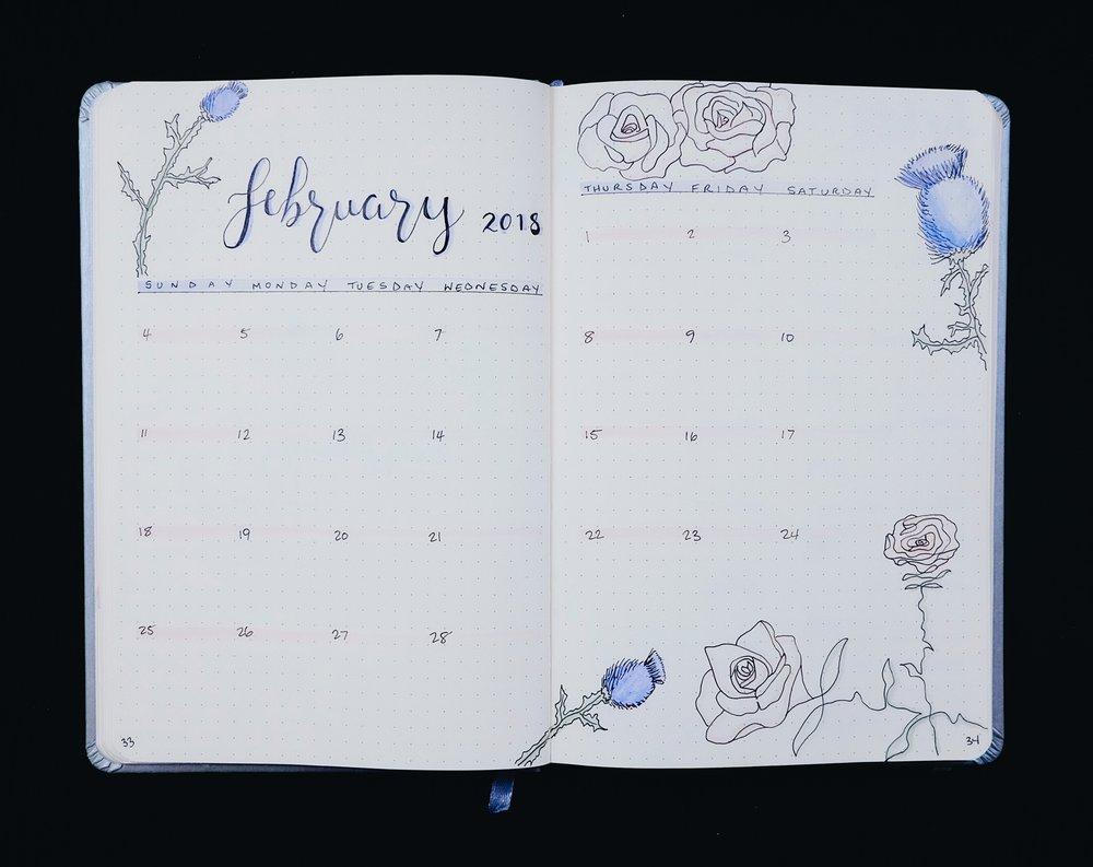 February 2018 Bullet Journal Monthly Flower Theme // Plant Based Bride