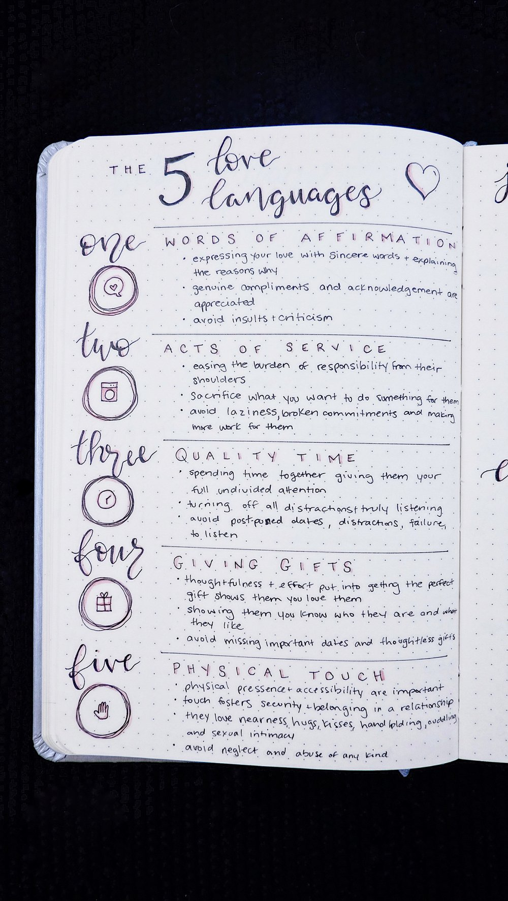 The 5 Love Languages Spread Bullet Journal  // Plant Based Bride