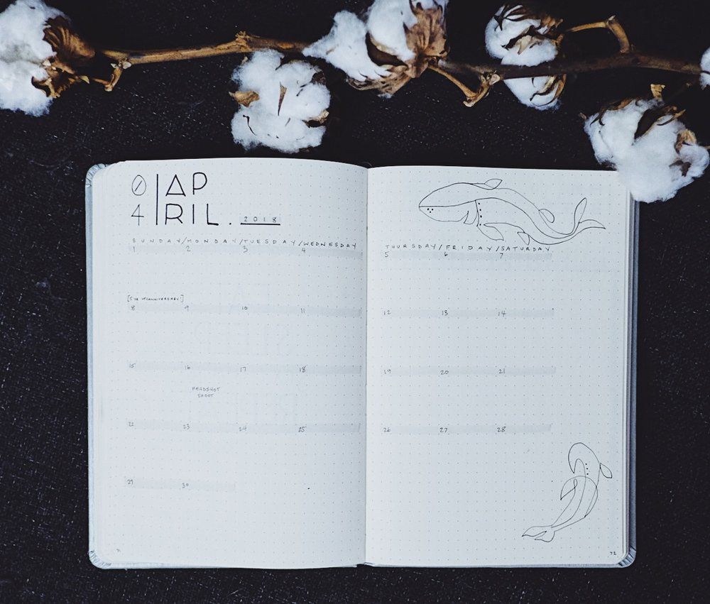 April 2018 Bullet Journal Minimalist Theme Monthly // Plant Based Bride