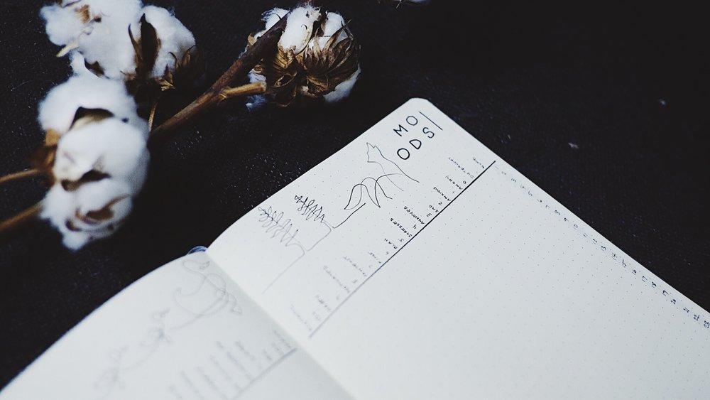 April 2018 Bullet Journal Minimalist Theme Mood Tracker / Line Art Wolf / Line Art Tree // Plant Based Bride