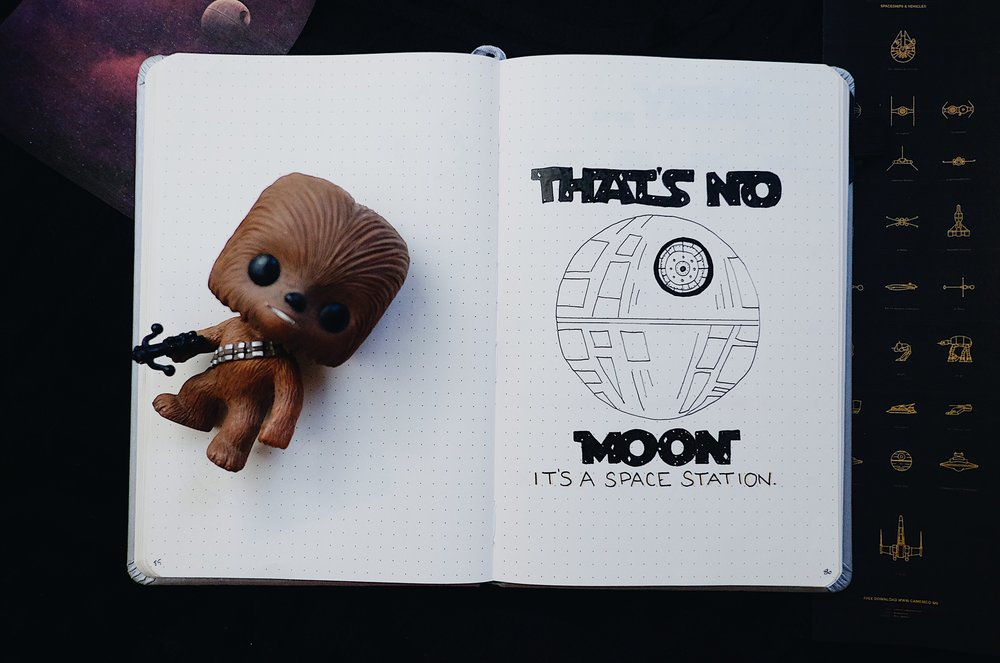 """May 2018 Bullet Journal Star Wars Theme """"That's no moon.  It' a space station."""" // Plant Based Bride"""