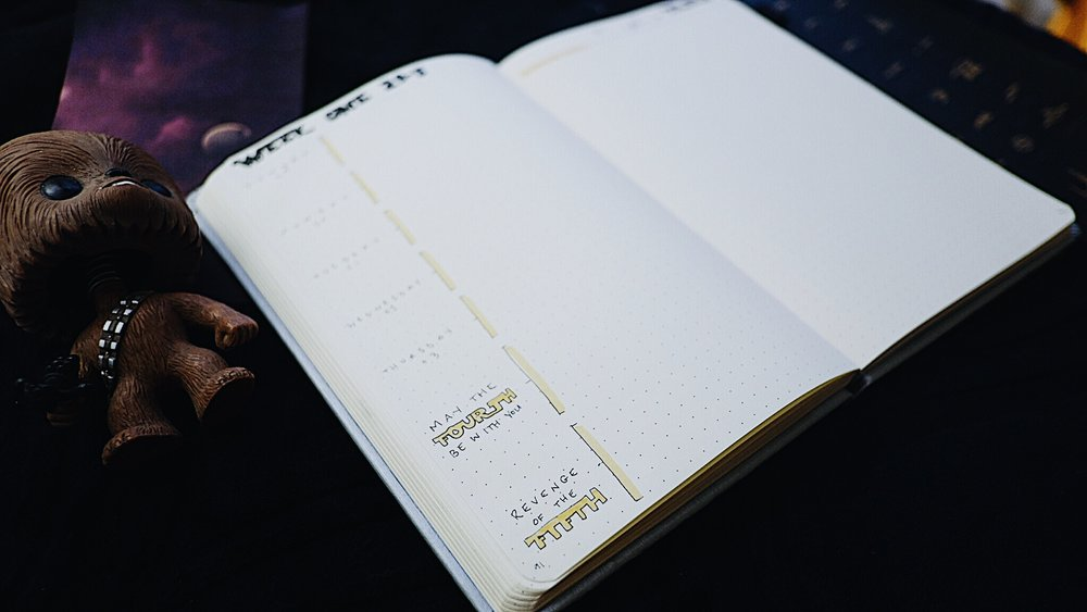 """May 2018 Bullet Journal Star Wars Theme Weekly Spread """"May the fourth be with you"""" """"Revenge of the fifth"""" // Plant Based Bride"""