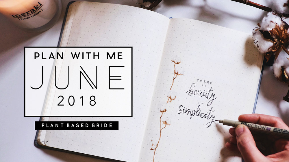 Bullet Journal Plan With Me June 2018 simple minimalist cotton theme // Plant Based Bride