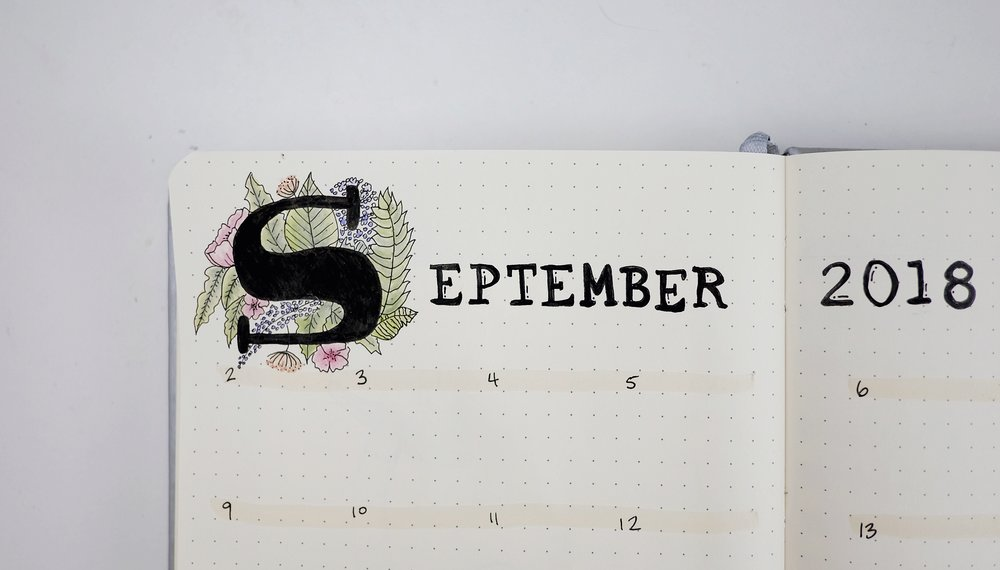 September 2018 Bullet Journal Monthly Wildflowers // Plant Based Bride